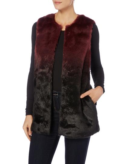 Dark Red Ombre Fur Gilet