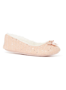 Pink Sequin Ballerina Slippers