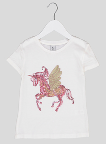 Cream Unicorn Sequin Top (3-14 years)