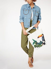 Tropical Print Canvas Bag