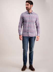 Blue Christmas Fairisle Print Regular Fit Shirt