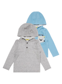 Boys Blue Hooded Tops (0-24 months) 2 Pack