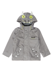 Boys Grey Showerproof Monster Face Jacket (9 months - 5 years)