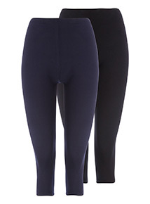 2 Pack Navy and Black Cropped Leggings