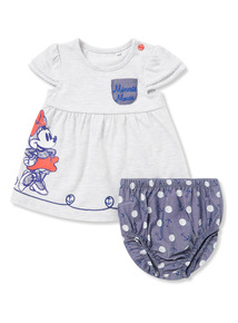 Grey Minnie Mouse Dress and Knicker Set (Newborn-18 months)