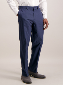 Navy Tailored Fit Stretch Trousers