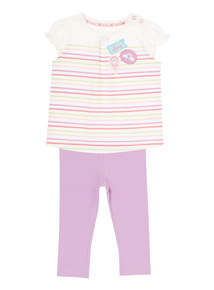 Girls Striped Top And Leggings Set (0-24 months)