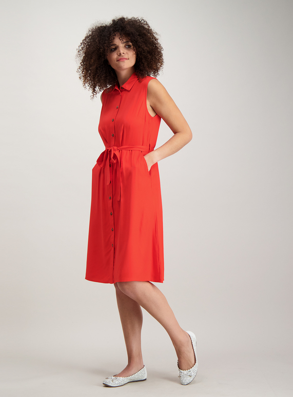 43e59762 Womens Red Button Front Sleeveless Shirt Dress | Tu clothing