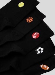 Black Sports Appliqué Socks 5 Pack (3 infant-6.5 adult)