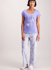 Lilac 'Wake Up' Logo Pyjamas