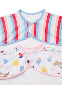 2 Pack Multicoloured Playdays Long Sleeve Bibs