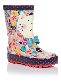 Girls Floral Cat Wellies