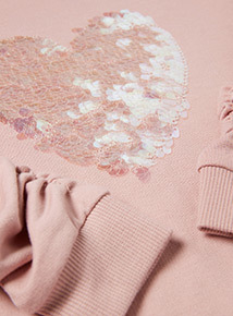 Pink Sequinned Heart Sweatshirt (3-14 years)