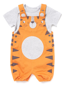 Orange Tiger Bibshort and Grey Bodysuit Set (0-24 months)
