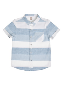 Boys Blue Woven Striped Shirt (3 - 12 years)