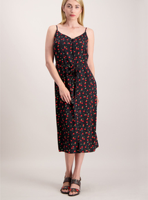 Multicoloured Cherry Print Buttoned Cami Dress