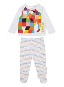 White Elmer Pyjama Set (0-24 months)