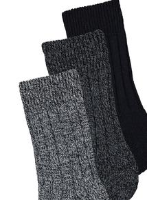 Blue Warm Boot Socks 3 Pack