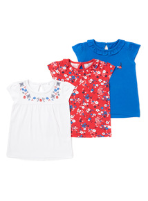 3 Pack Assorted Plain And Printed T-Shirts (0-24 months)