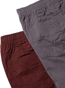 2 Pack Multicoloured Elasticated Waist Shorts (3-12 years)