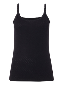Black Pointelle Thermal Cami