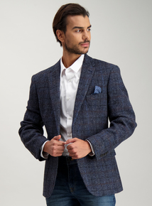 67d2e2bc27c3 Navy Check Harris Tweed Tailored Wool Jacket