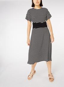 Stripe Print Belted Midi Dress