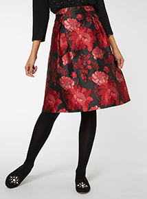 Floral Print Jacquard Full Skirt
