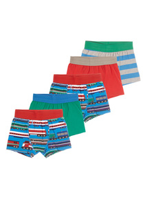Boys Multicoloured Stretch Trunks 5 Pack