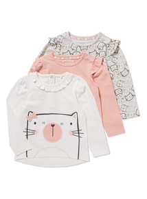 3 Pack Long Sleeve Ruffle Cat Tops (0-24 months)