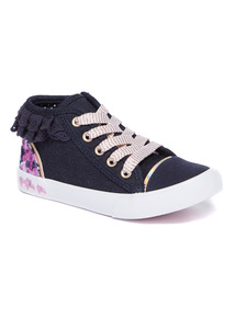 Denim Floral High Top Trainers (6 Infant - 2)
