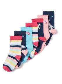 7 Pack Multicoloured Unicorn Socks (3 infant - 5.5 adult)