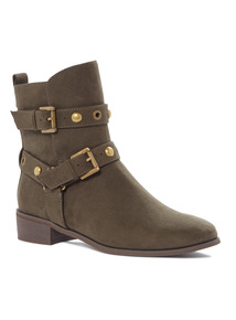 Khaki Slouch Strappy Ankle Boots