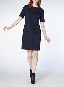 Navy Rib Ponte Dress