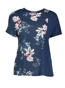 Online Exclusive Navy Floral Panel T-Shirt