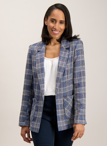 Online Exclusive Blue Boucle Check Jacket