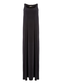 Black Gathered Maxi Dress
