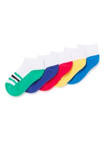 5 Pack White Retro Stripe Trainer Socks (3 infant-6.5 adult)