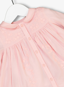 Pink Embroidery Button Through Blouse (0-24 Months)