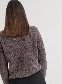 Premium Online Exclusive Grey Chenille Diamond Knit Jumper