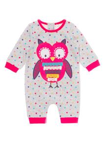 Girls Grey Owl Sweat Romper (0-24 months)