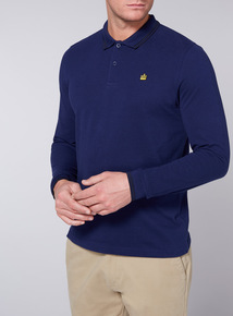 Admiral Navy Long-Sleeved Pique Polo Shirt