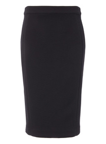 Black Ponte Textured Pencil Skirt