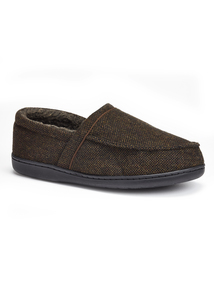 Brown Textured Memory Foam Slippers
