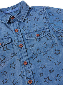 Denim Star Print Shirt (9 months-6 years)