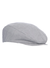 Navy Striped Flat Cap
