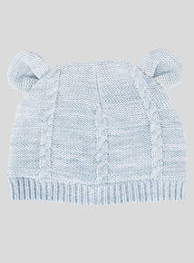 Blue Cable Knit Hat (Newborn- 2 Years)