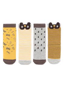 4 Pack Grey Superhero Socks (1-24 months)