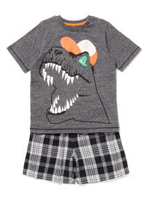 Grey T-Rex Woven Pyjamas (3-12 years)