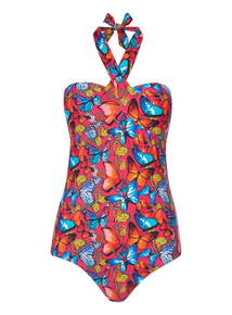 Multicoloured Butterfly Halterneck Swimsuit